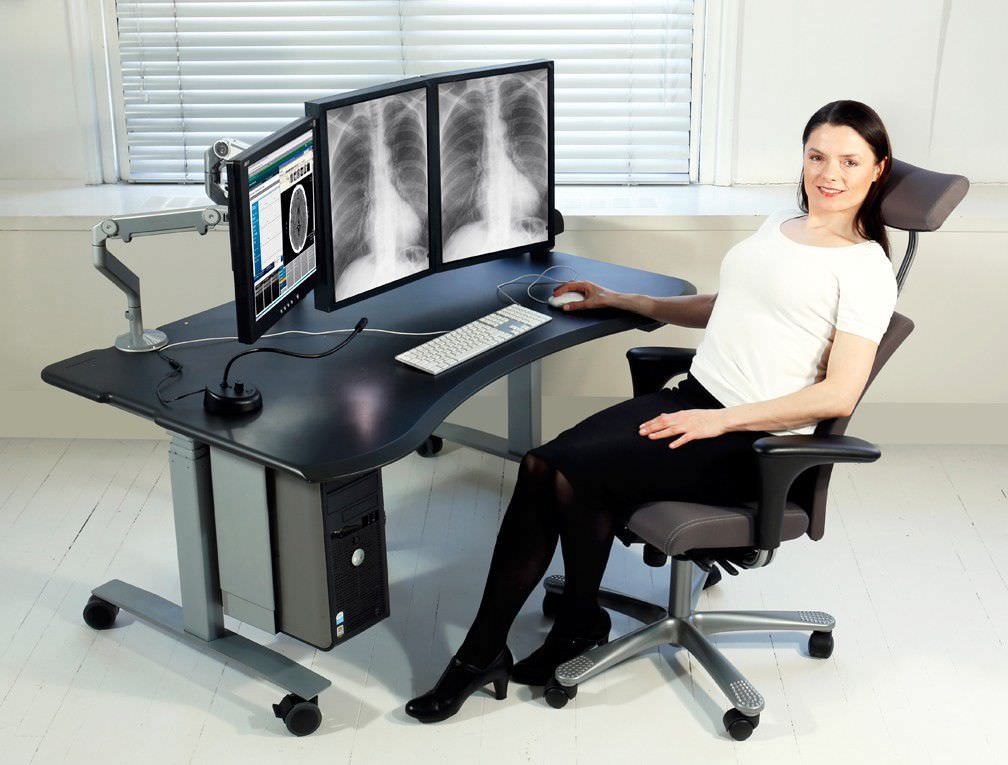 Elegant Medical Computer Workstation / For PACS / Mobile / Height Adjustable    Level2 Plus PACS