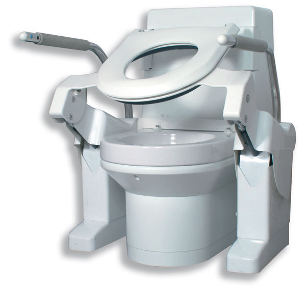 Tilting raised toilet seat / with armrests / height-adjustable ...