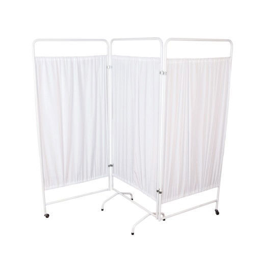 Hospital screen on casters / 3-panel / with curtain - STM