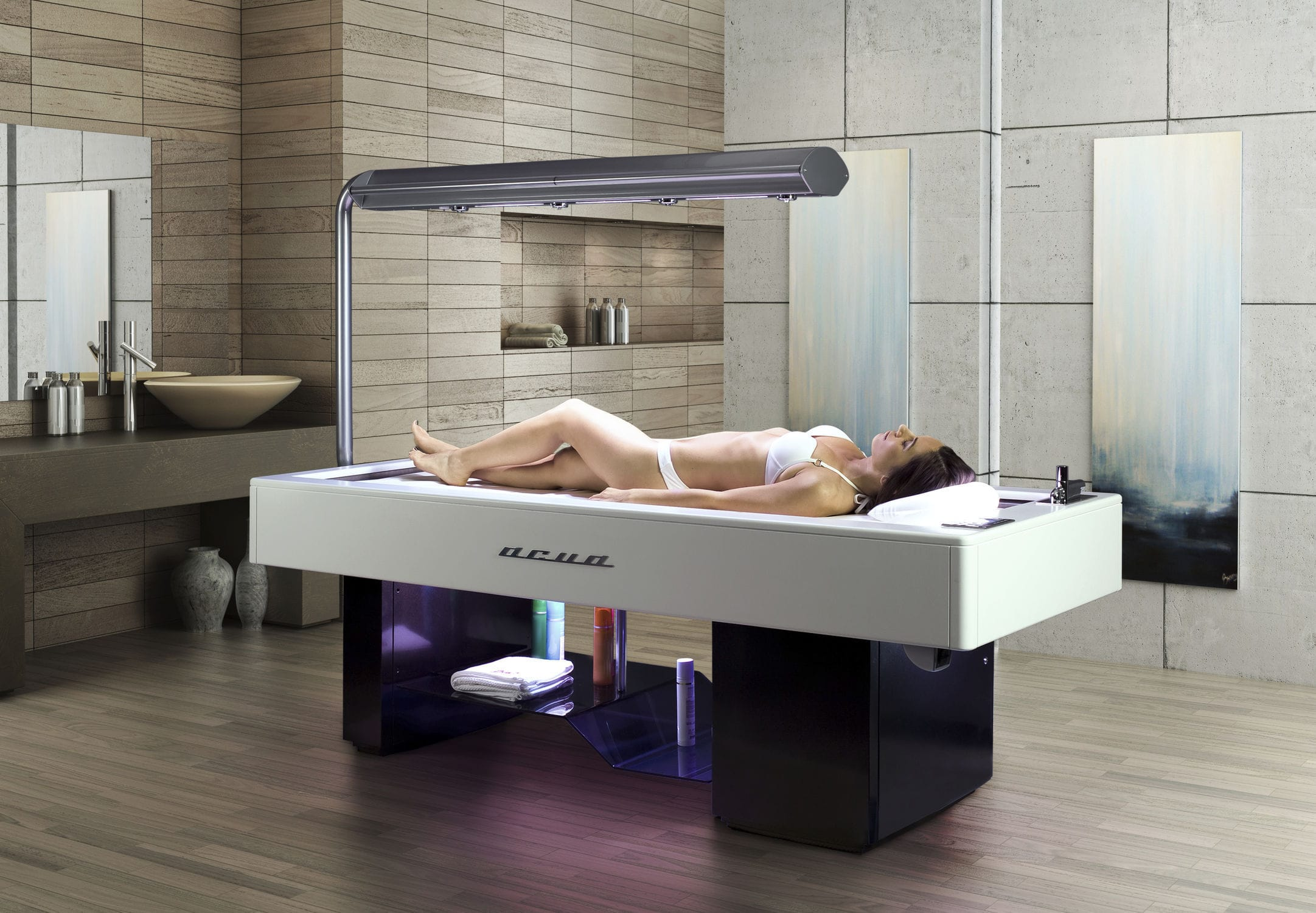 Relaxation Bed With Vichy Shower / With Sonotherapy Speakers / With  Chromotherapy Lamps   Acua