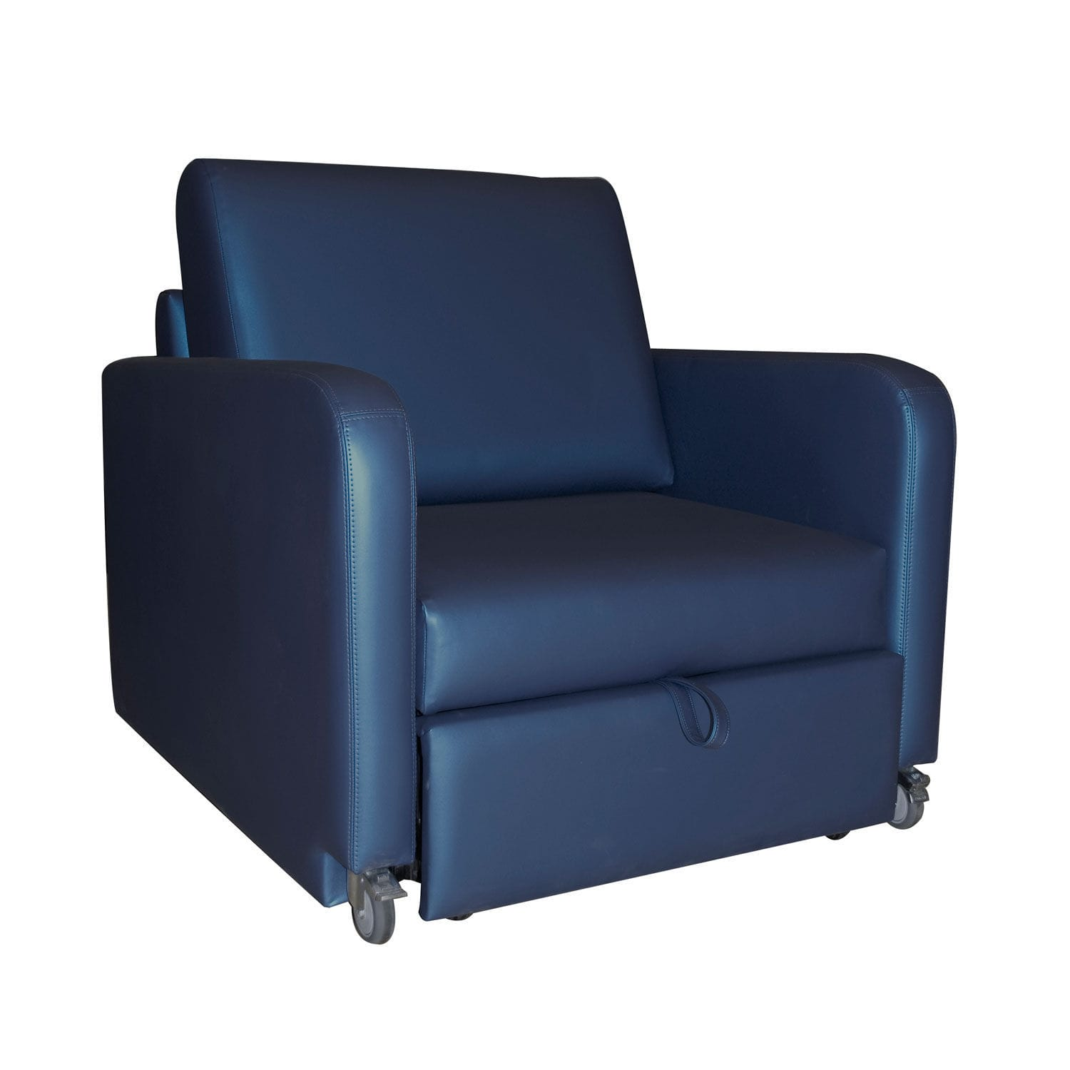Reclining patient chair on casters with legrest convertible
