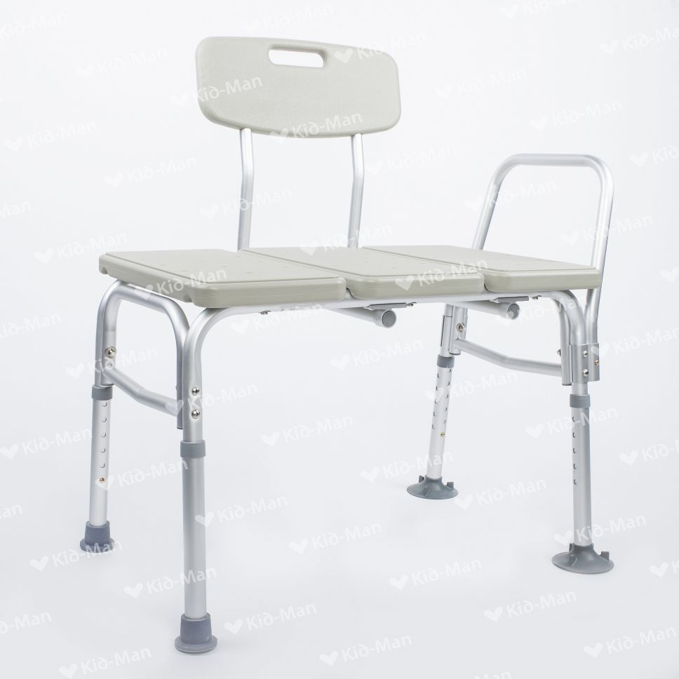 Shower chair / with backrest / plastic / height-adjustable - 02 ...