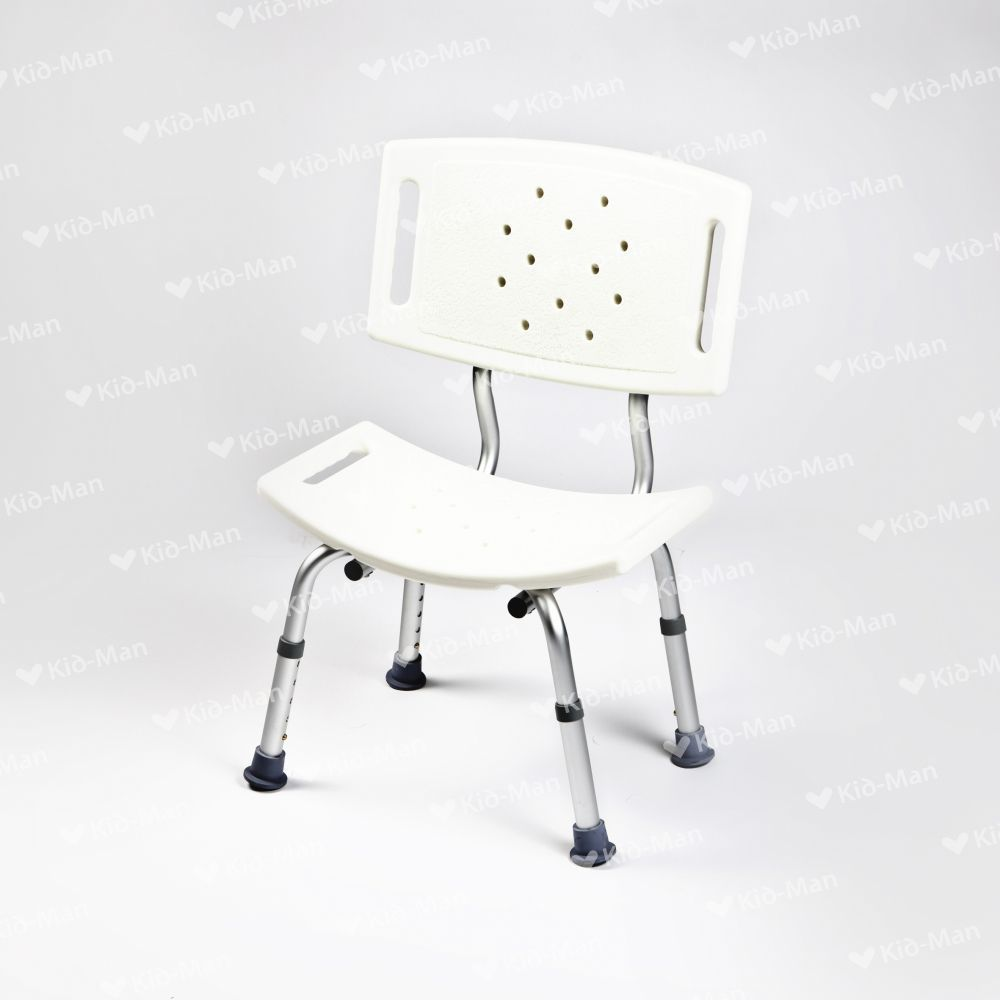 Shower chair / with backrest / plastic / height-adjustable - 01 ...