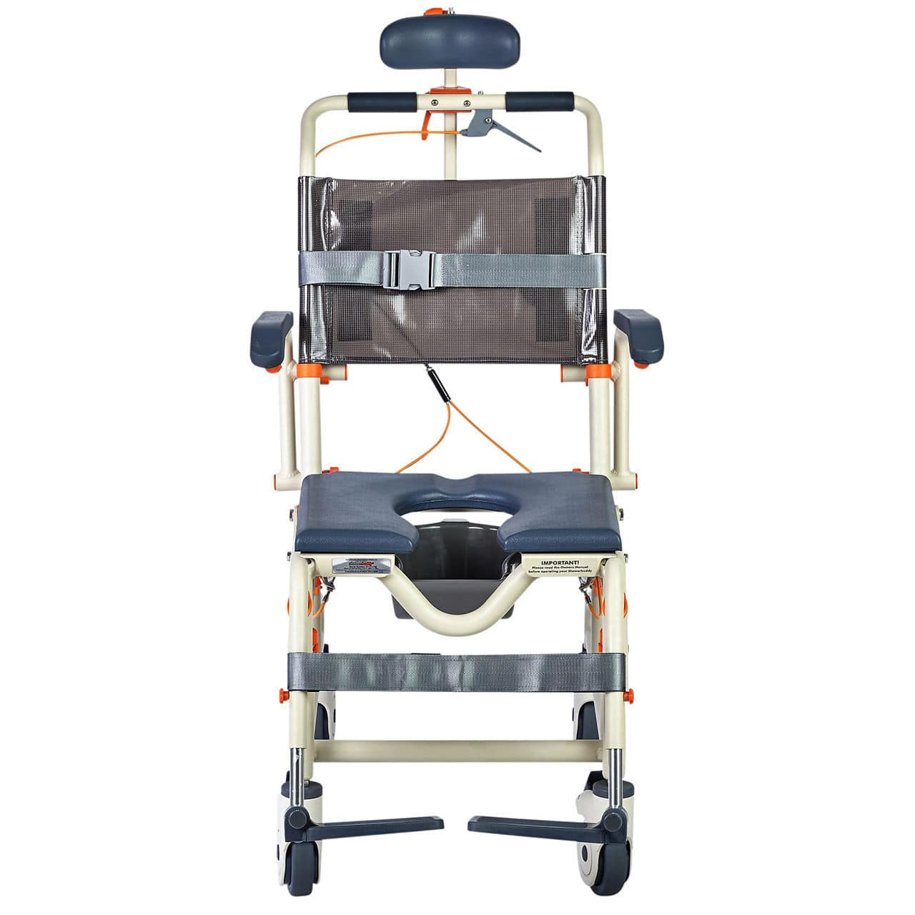 Shower chair / with cutout seat / on casters / with footrest - Roll ...