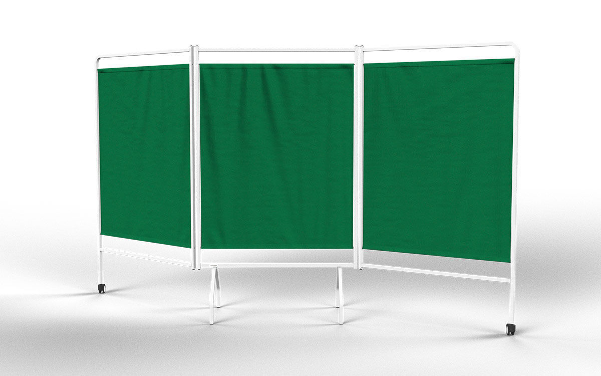 Hospital screen on casters / 3-panel / with curtain / folding - DW