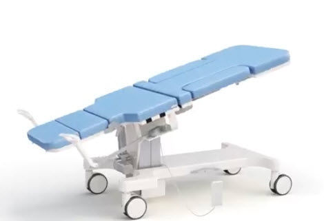 Ultrasound imaging examination table / electric / height-adjustable