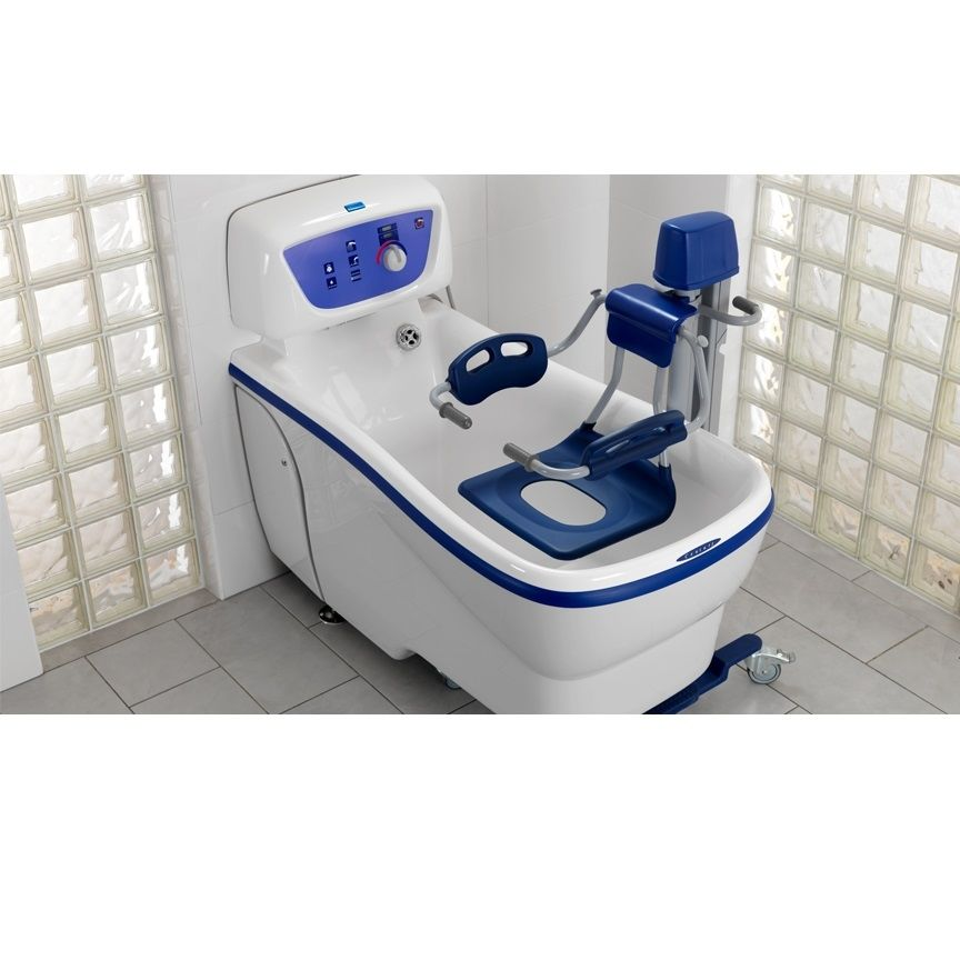 Electric medical bathtub / height-adjustable / with lift seat ...