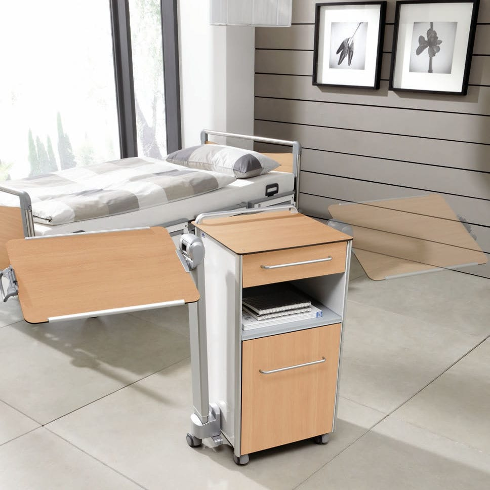 Over the bed table - Bedside Table On Casters With Integrated Over Bed Table Somero