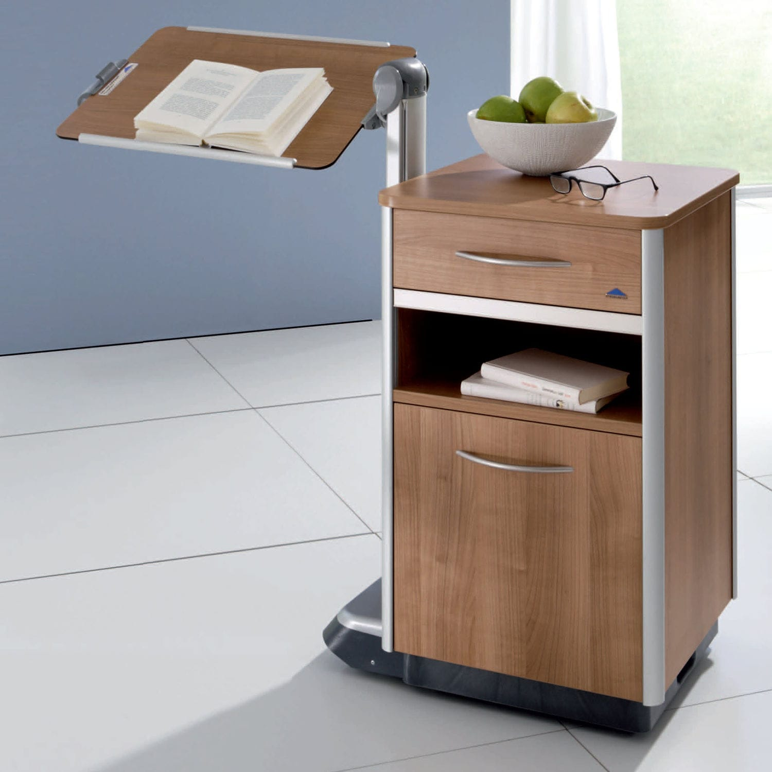 Bedside table on casters with integrated over bed table Cosimo