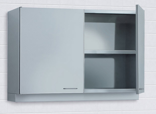 Storage cabinet / hospital / stainless steel / wall-mounted - 1 ...