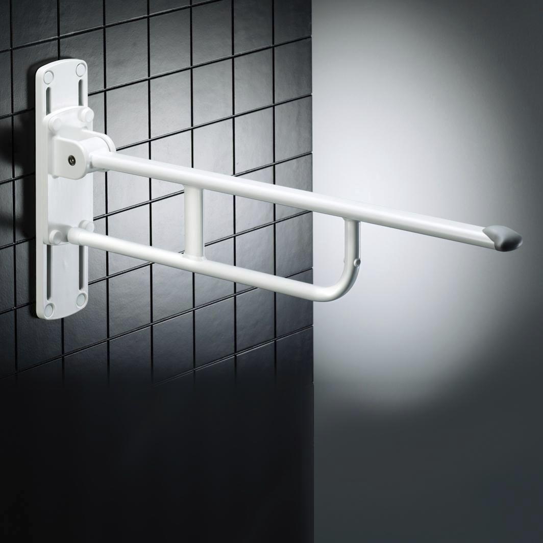 Bathroom grab bar / folding / height-adjustable / wall-mounted ...