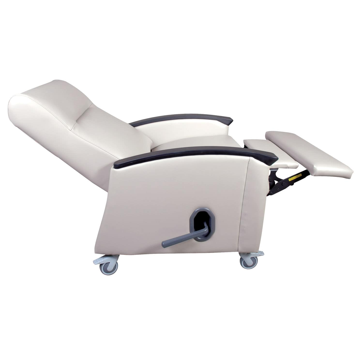 Reclining patient chair on casters with legrest bariatric