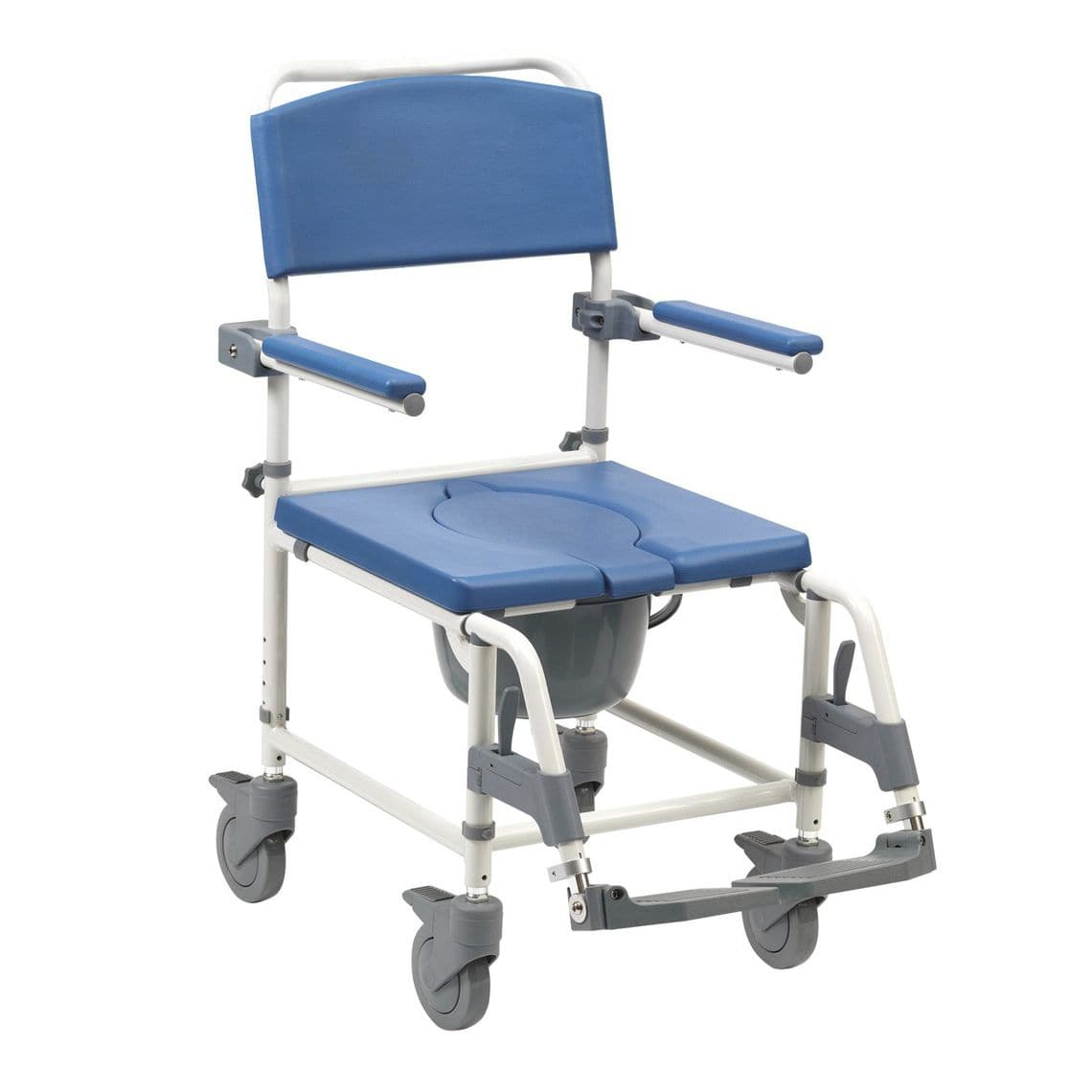 Shower chair / with armrests / with bucket / on casters - Aston ...