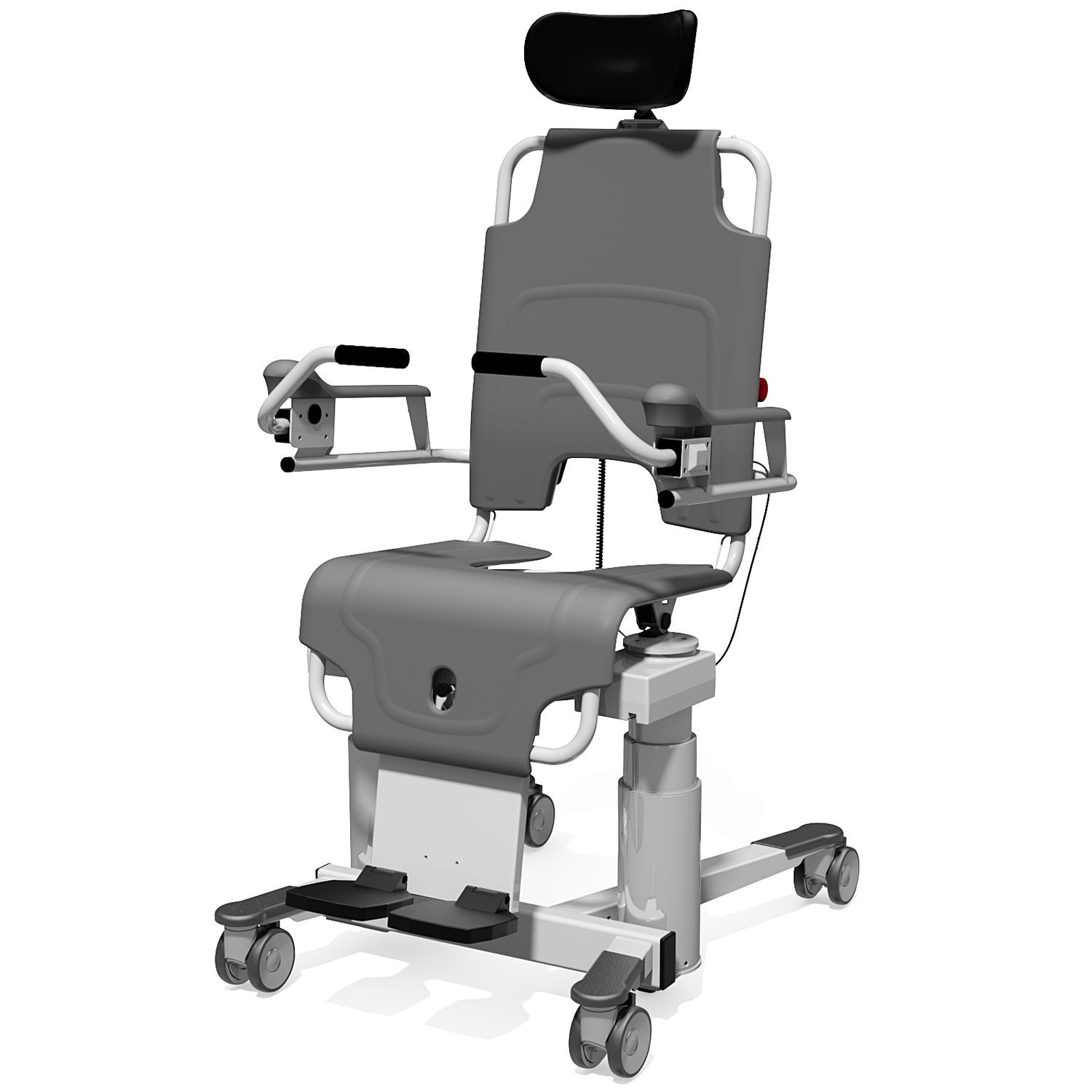 Shower chair / with cutout seat / on casters / with high backrest ...