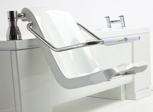 Manual medical bathtub / with lift seat / height-adjustable ...
