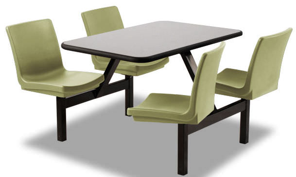 dining table rectangular fixed with attached chair - Table Chaise
