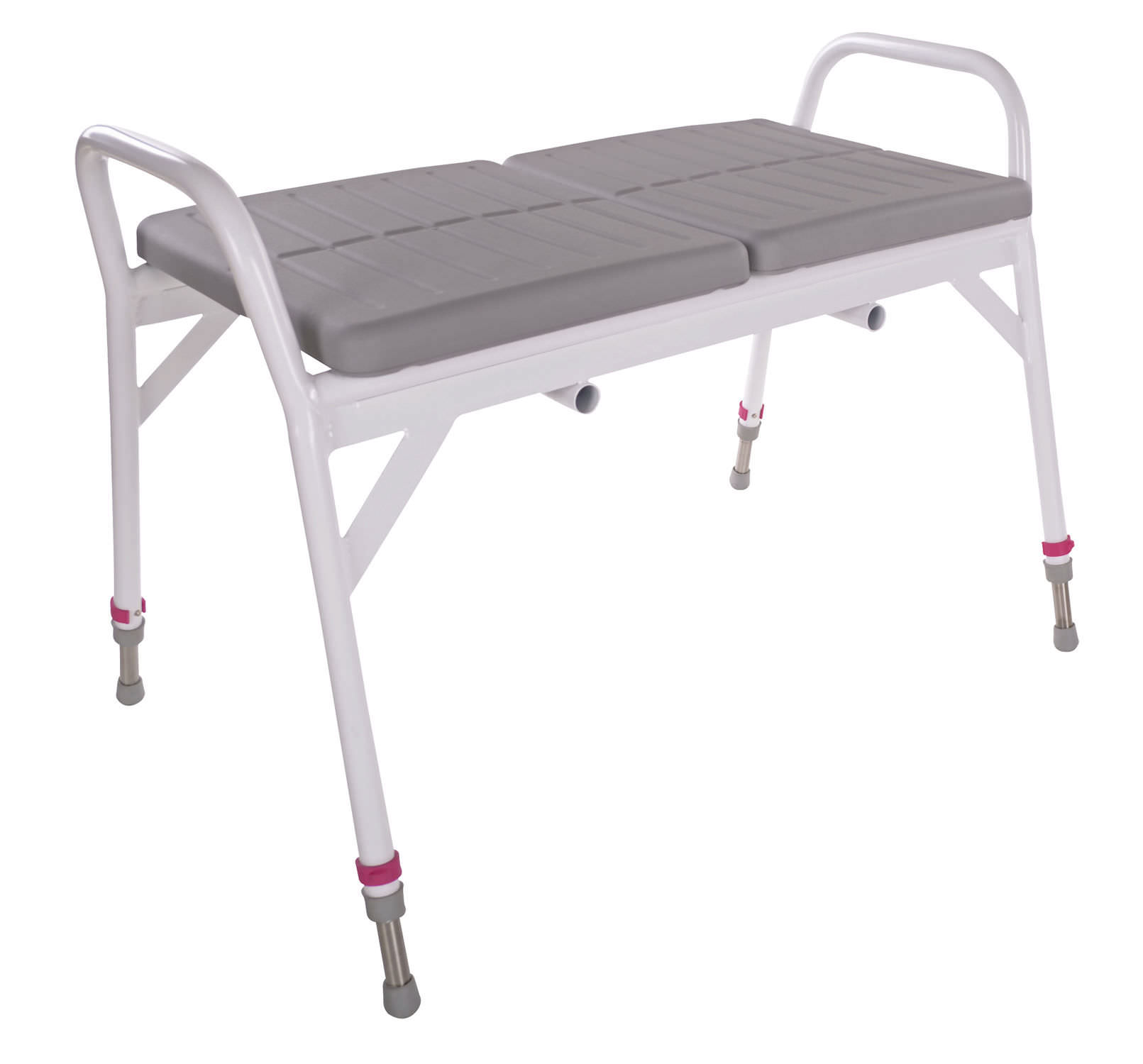 Shower stool / with backrest / with armrests / height-adjustable ...