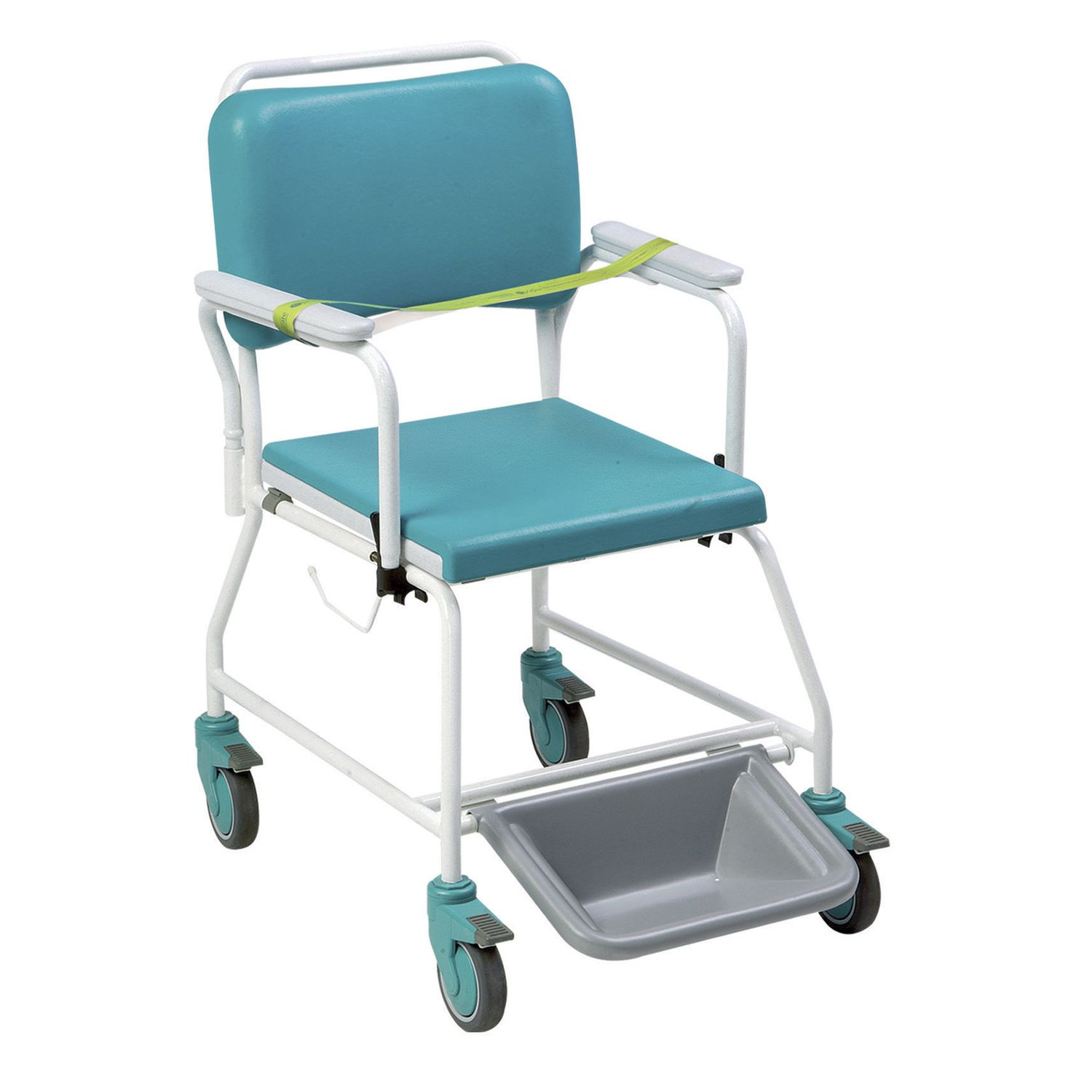 Commode shower chair / on casters / with armrests / with backrest ...