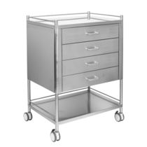 Dressing trolley / 4-drawer / with shelf / stainless steel