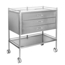 Dressing trolley / 3-drawer / with shelf / stainless steel