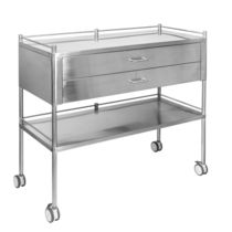 Dressing trolley / 2-drawer / with shelf / stainless steel