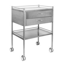Dressing trolley / transport / 2-drawer / stainless steel