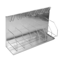 Bedpan rack / wall-mount / stainless steel