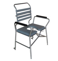 Shower chair / with cutout seat / with armrests / commode