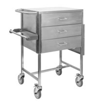 Cast trolley / transport / 3-drawer / stainless steel