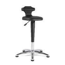 Laboratory stool / height-adjustable / rotating / with backrest