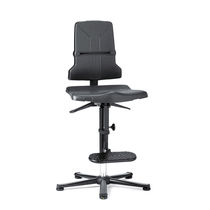 Laboratory chair / with high backrest / with footrest / height-adjustable