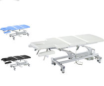 Electric examination table / height-adjustable / on casters / 3-section