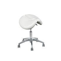 Height-adjustable stool / on casters / saddle seat