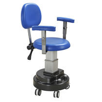 Surgical stool / height-adjustable / on casters / with backrest