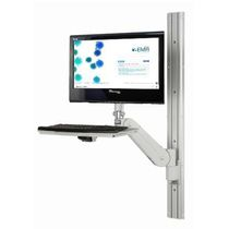 Wall-mounted monitor support arm / medical / with keyboard arm / tilting