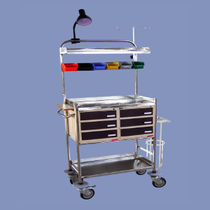Emergency cart / 6-drawer / with containers / with oxygen cylinder holder