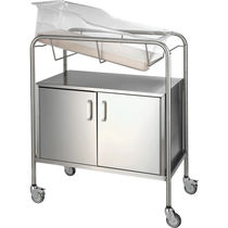 Hospital bassinet on casters / transparent / stainless steel