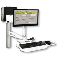 Wall-mounted monitor support arm / medical / with keyboard arm