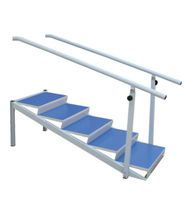 Straight rehabilitation staircase / with 2 handrails