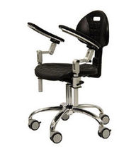 Doctor's office stool / surgical / height-adjustable / with backrest