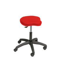 Doctor's office stool / height-adjustable / T seat / on casters