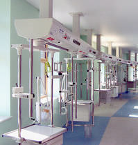 Supply beam system medical supply system / ceiling-mounted / with shelves