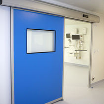 Hospital door / laboratory / sliding / with glass panel