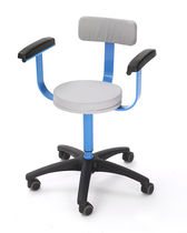 Doctor's office stool / height-adjustable / with backrest / with armrests