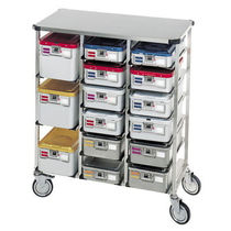 Transport trolley / for sterilization chambers / for instruments / with cassettes