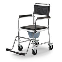 Shower chair / on casters / with armrests / with bucket