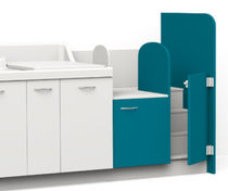 Nursery changing station / with washbasin / with fixed stairs / with storage boxes