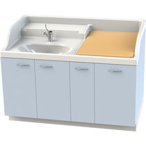 Nursery changing station / with washbasin / with sliding trays / with storage boxes