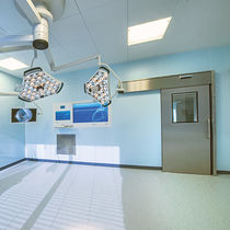 Operating room door / sliding / with glass panel