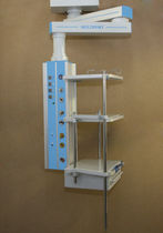 Medical pendant / ceiling-mounted / with shelves / with monitor support arm
